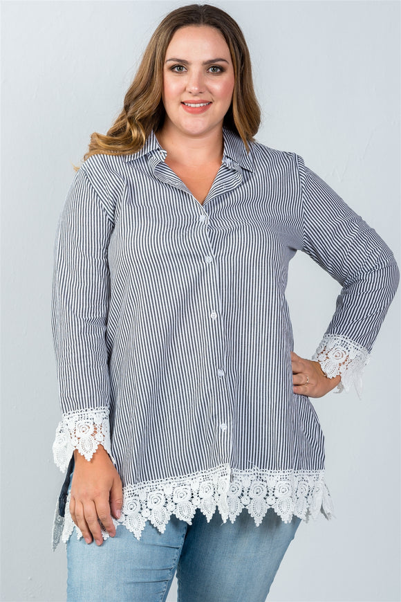Ladies fashion plus size contrast crochet trim vertical striped top