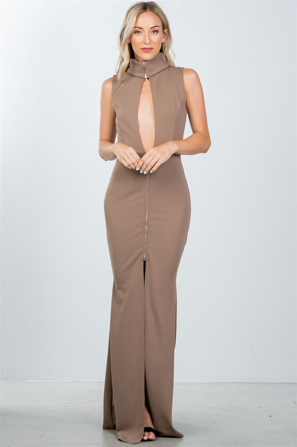 Ladies Zipper Turtleneck Maxi Dress