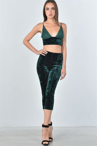 Ladies Velvet Lace Crop Top And Calf-Length Pants Set