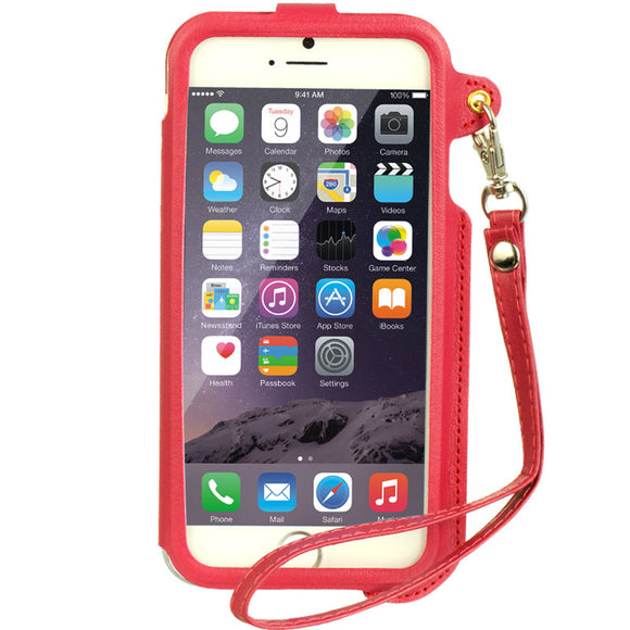 Apple IPhone 6,6s Plus cadre case with strap hot pink