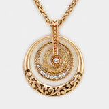 Crystal Filigree Hoop Pendant Necklace Set Gold tone