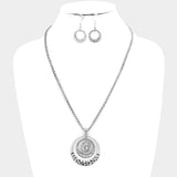 Crystal Filigree Hoop Pendant Necklace Set silver