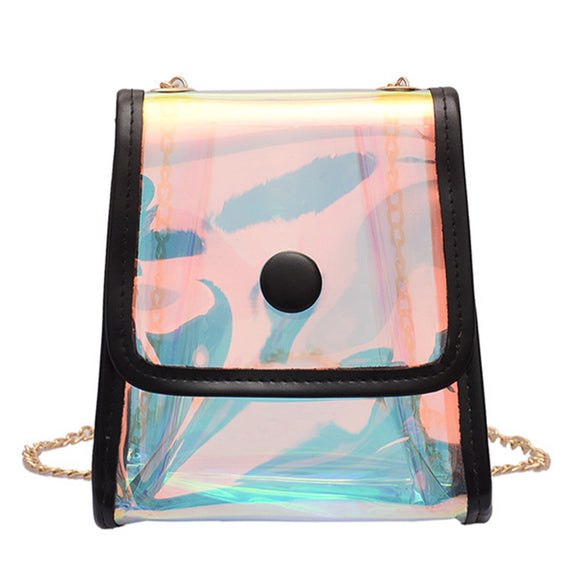 UNIVERSAL FASHIONABLY CHIC HOLOGRAPHIC IRIDESCENT CLEAR MINI PURSE BAG