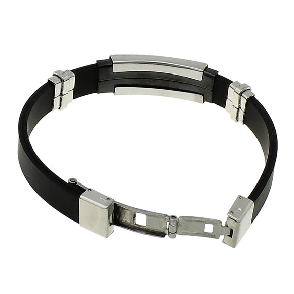 Stainless Steel Black Silicone Bracelet Men's/ Women Cuff Bangles Rubber Sporty Wristband Bracelet