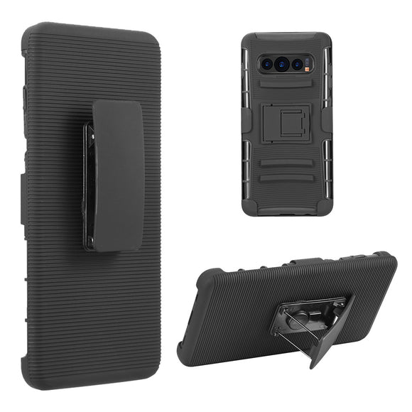 SAMSUNG GALAXY S10 HYBRID CASE BLACK SKIN + BLACK PC WITH H STYLE STAND