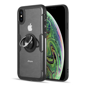 THE ROBOTECH FUSION CANDY CARBON FIBER FRAME TPU CASE WITH ACRYLIC BACK PLATE AND ATTACHED MAGNET RING STAND FOR IPHONEXS MAX - BLACK