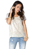 Miss Me Contrast Sequin & Lace Top