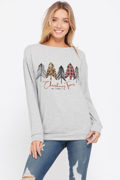 Leopard & Plaid Tree Sweatshirt