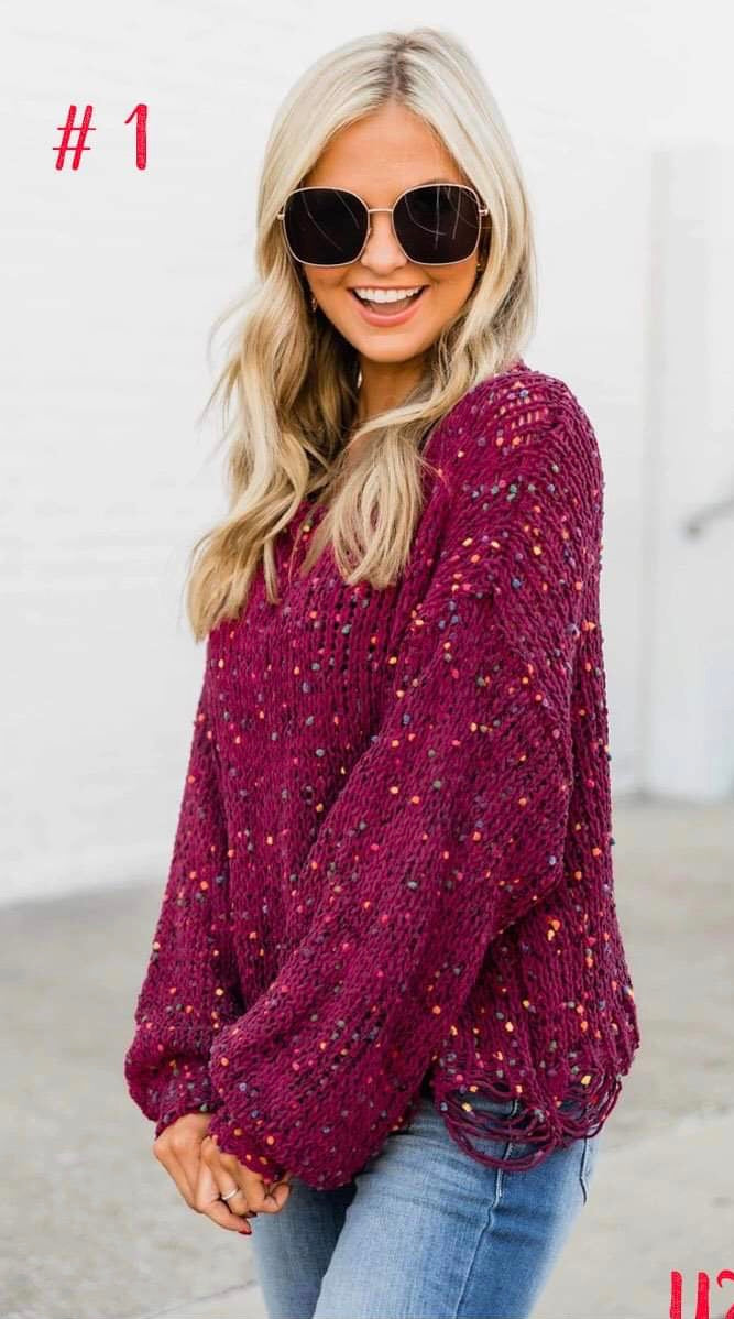 Wine Confetti Sweater