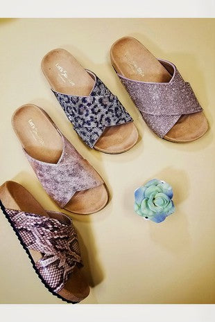 Leopard Bling Slides