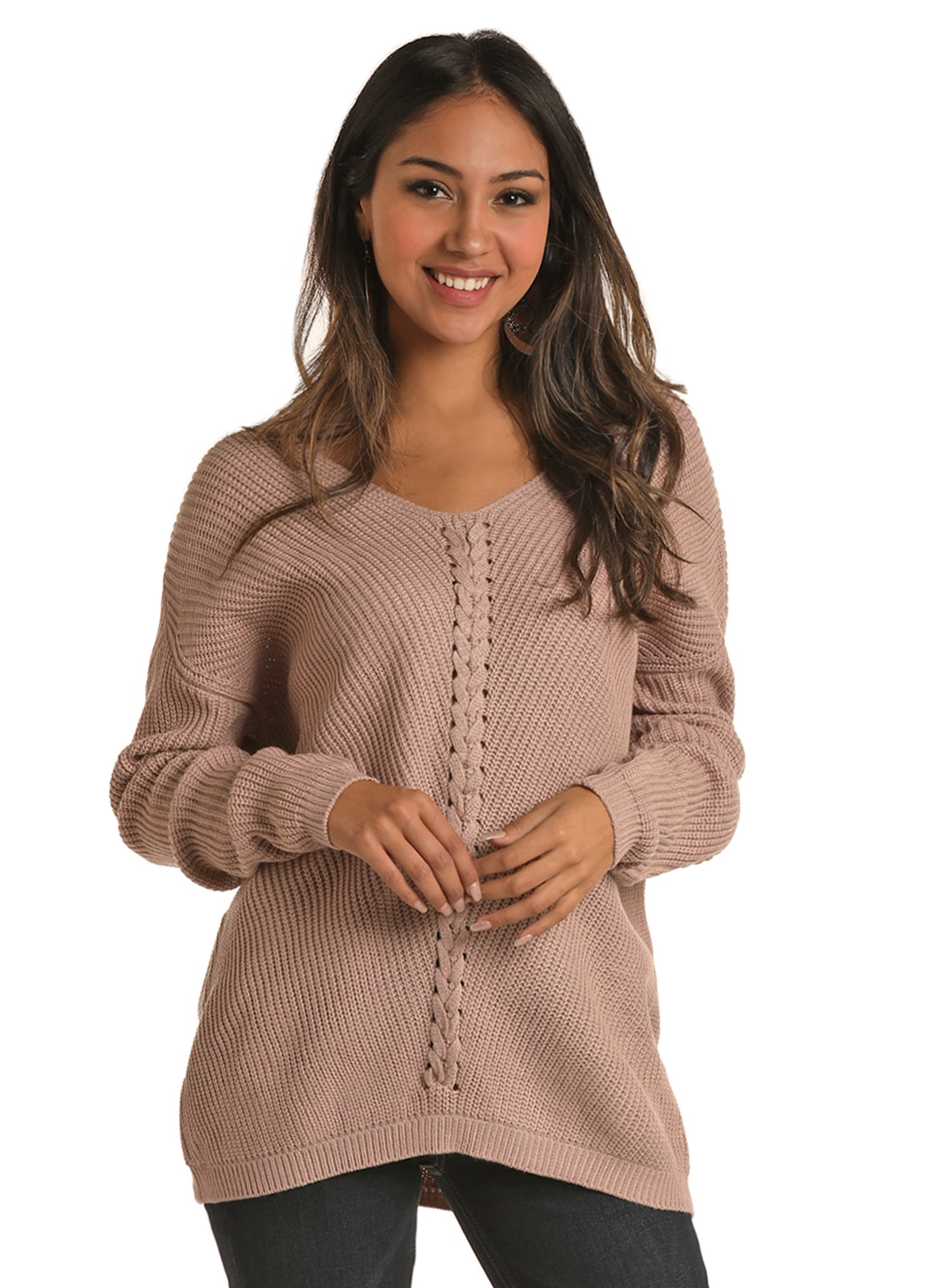 Blush Lace Up Sweater