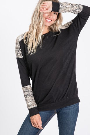 Snakeskin Sequin Top