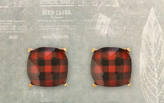 Buffalo Plaid Studs