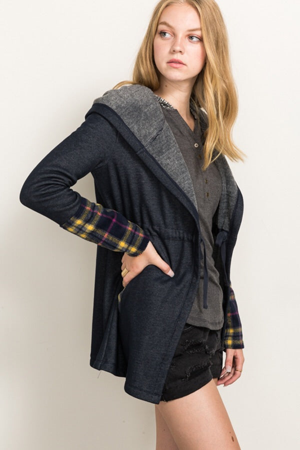 Plaid Fleece Cardi