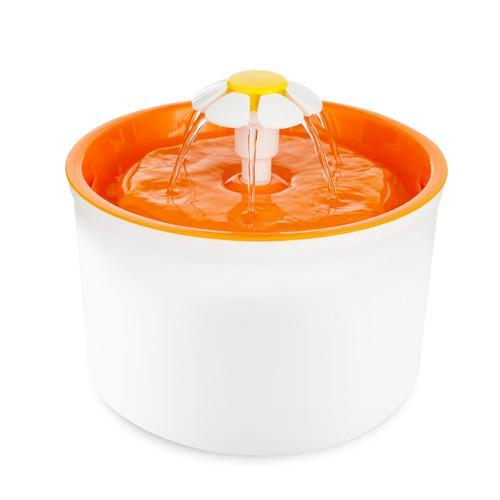 Aenyx AU Plug / Orange Automatic Pet Drinking Fountain - Flower Style