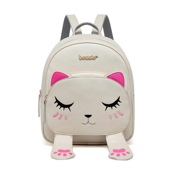 Aenyx Beige Cute Kitten Backpack