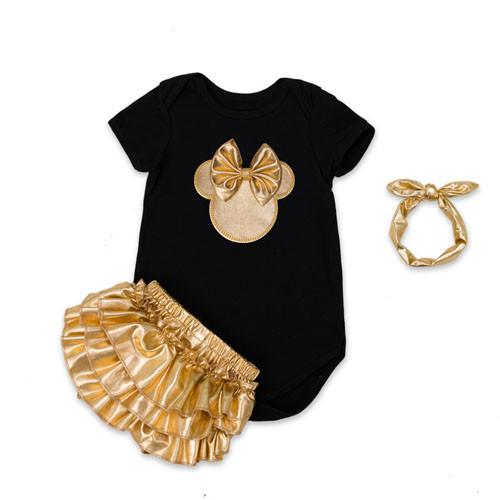 Aenyx Black / 7-9 months Golden Minnie Mouse 4pc Baby Set