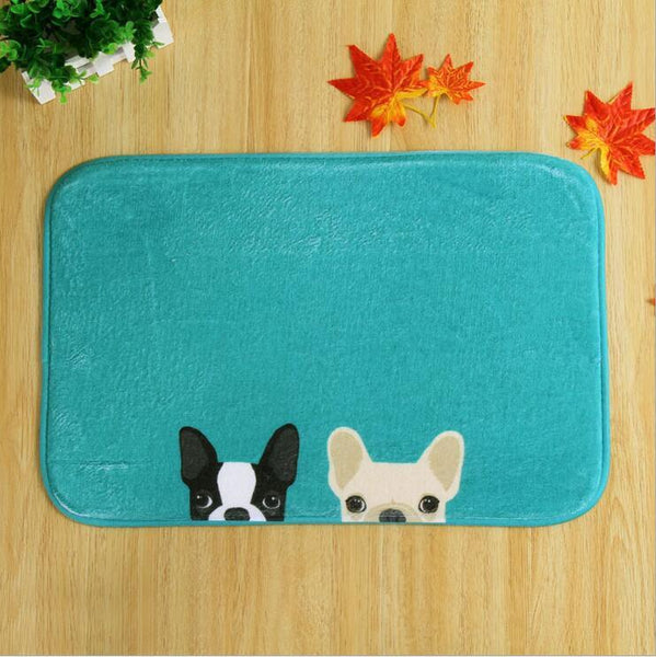 "Aenyx Blue Frenchies / 15.7"" x 23.6"" A-Dog-rable Dog Bathroom Mats"