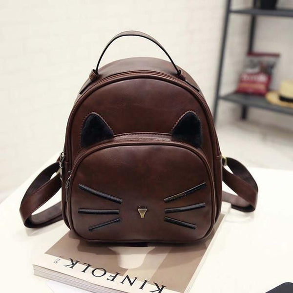 Aenyx Dark brown Lovely Kawaii Cat Backpack