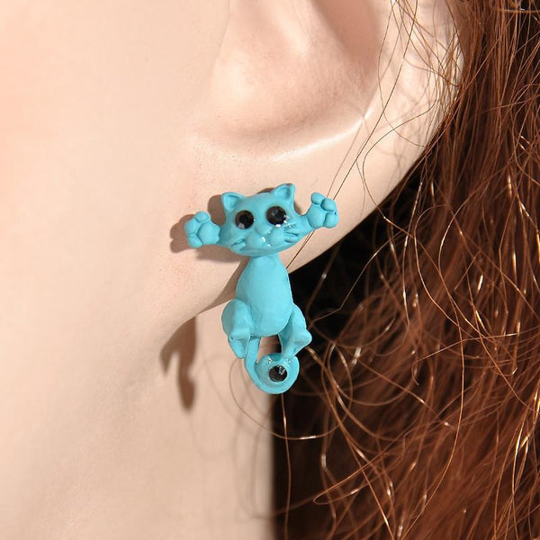 Aenyx Light Blue Kawaii 3D Cat Earrings