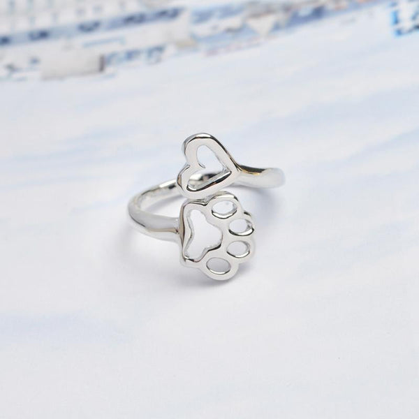 Aenyx silver Heart and Dog Paw Ring