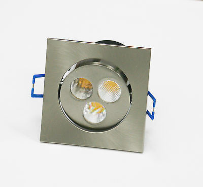 LED 3 inch Ceiling Spot light Square brushed metal 4W Cool White Warm White