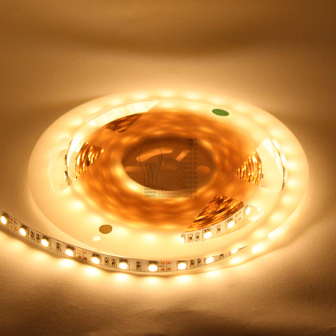 12V 5050 Single Color LED Strip Indoor IP20, 16.4 Feet, Warm Cool white