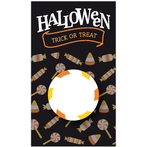 Happy Halloween Scratch to Win Trick or Treat Candy Scratch Off Card