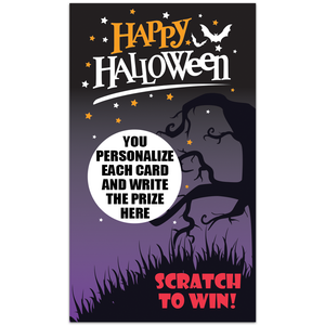 Happy Halloween Scratch to Win Spooky Tree Scratch Off Card