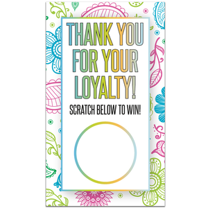 Loyalty Scratch Off Card Rainbow Paisley Design