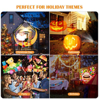 Christmas Projector Lights, Ocean Wave LED Light Projector Dynamically Changing Colorful Landscape Lights Waterproof Outdoor Indoor Xmas Party Yard Garden Decorations-14 Slides 10 Colors