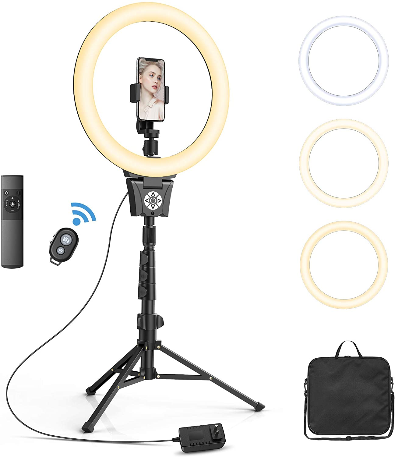 "12""Selfie Ring Light with Adjustable Tripod Stand Holder"