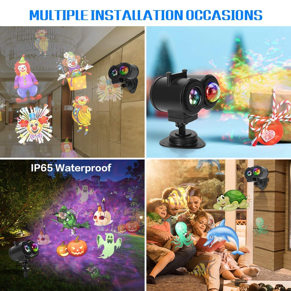 Water Wave Christmas Projector, LED Light Projector with 16 Slides and 10 Different Remote Control Color