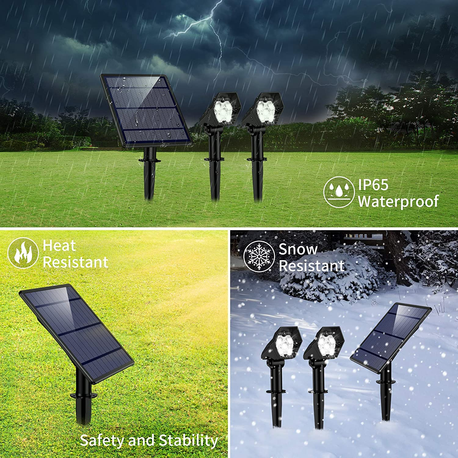 2-in-1 Waterproof 5 LED Solar Lights Wall Lights Auto On/Off