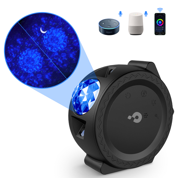 Star Projector, Smart 3 - 1 LED Night Light Projector[More Colorful &APP Control ]with Moon and Star, Star Sky Light with Voice Control, Starry Projector for Children&Adults Bedroom (Black)