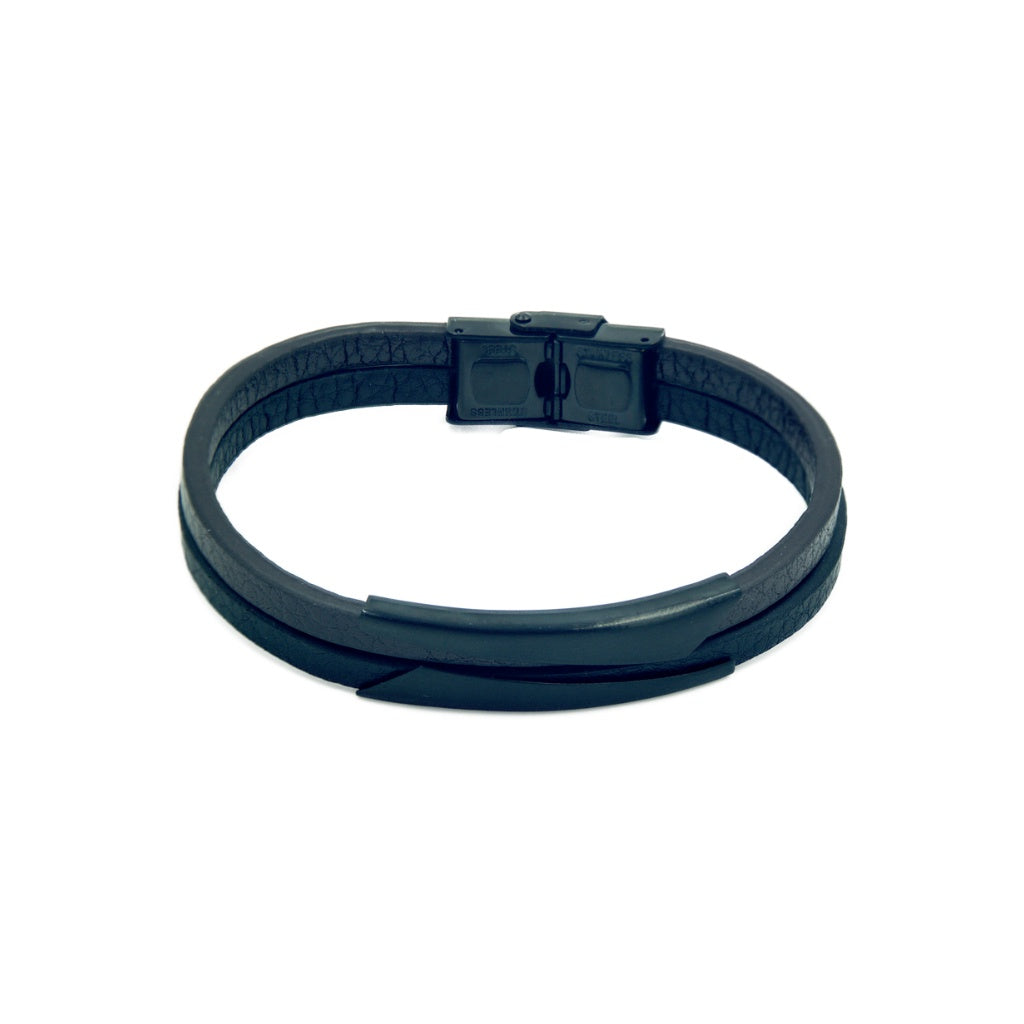 Two bands slim black leather bracelet with black mannerist branded clasp