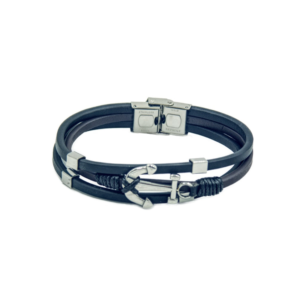 Three band men's leather bracelet with anchor motif, and branded clasp.