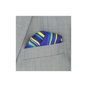 Blue silk pocket square with yellow, green and light blue flash patterns in grey suit pocket