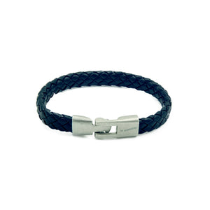 Rope style slimline men's black leather bracelet with a brushed steel branded clasp.