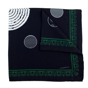 Designer black silk pocket square with green patterned border and polka dot theme design