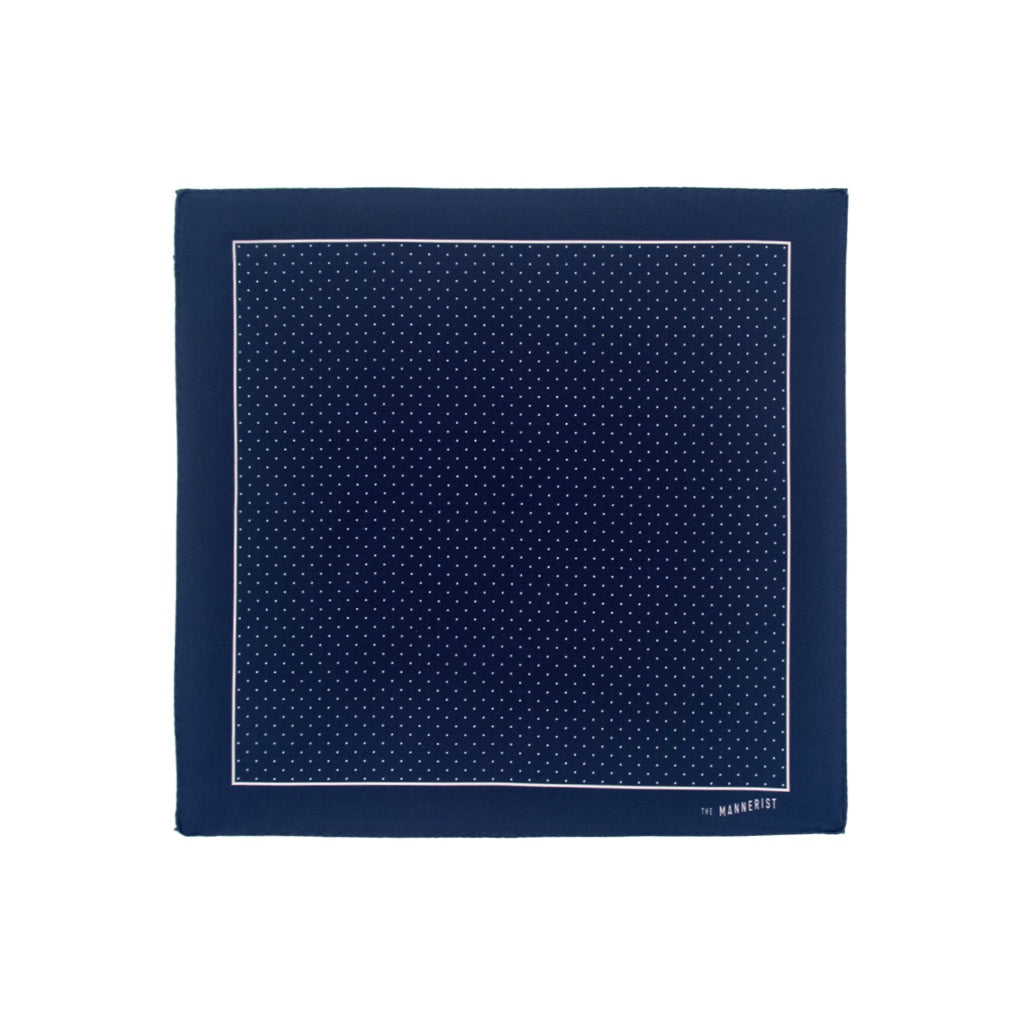 Dark Navy Blue with Small White Polka Dots Print Silk Pocket Square