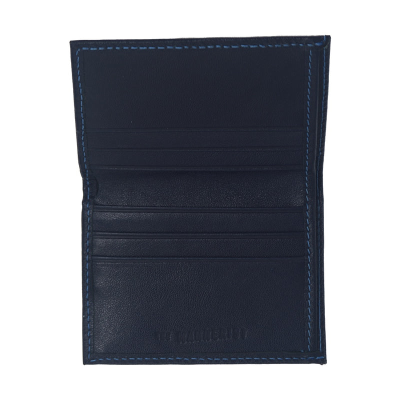 Dark Blue Leather Wallet with six card slots and central compartment for bills