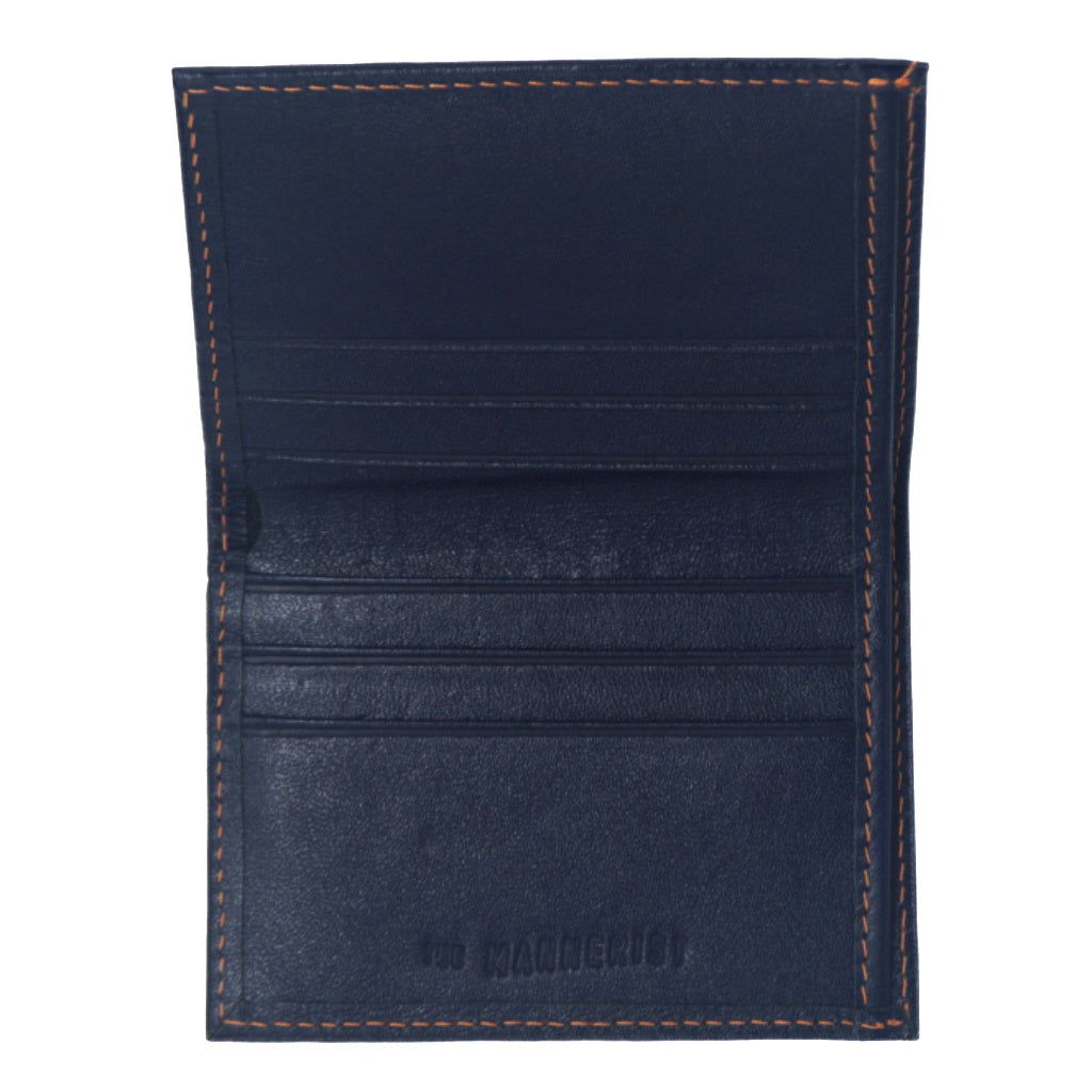 Dark blue Leather Wallet with Orange Stitching and six card slots inside