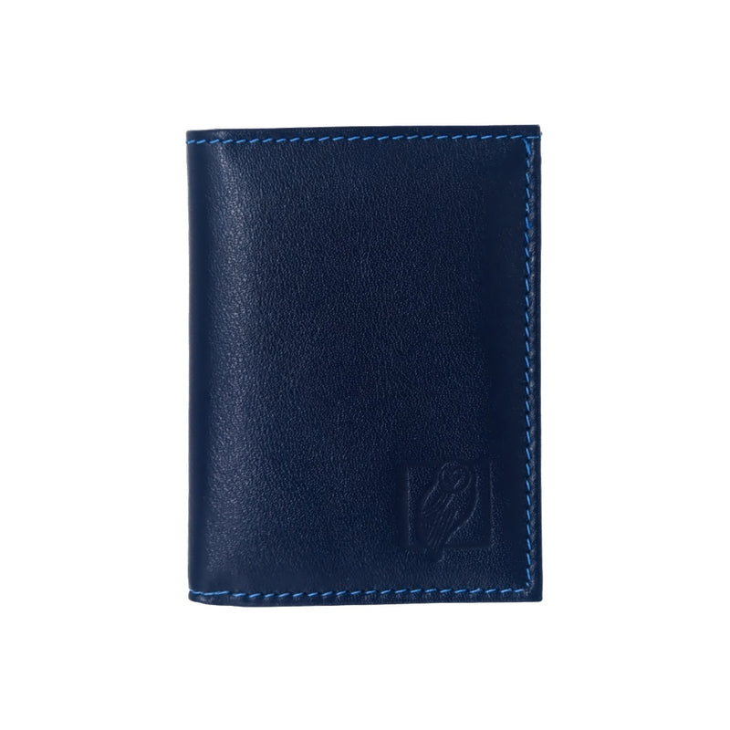 Designer Dark Blue Leather Wallet with six card slots and central compartment for bills
