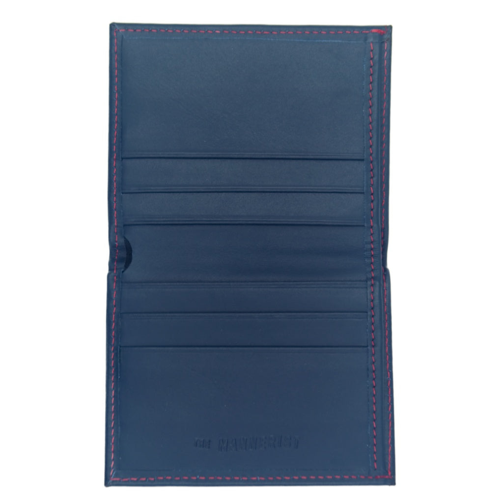 Stelo - Blue Leather Wallet with Red Stitching