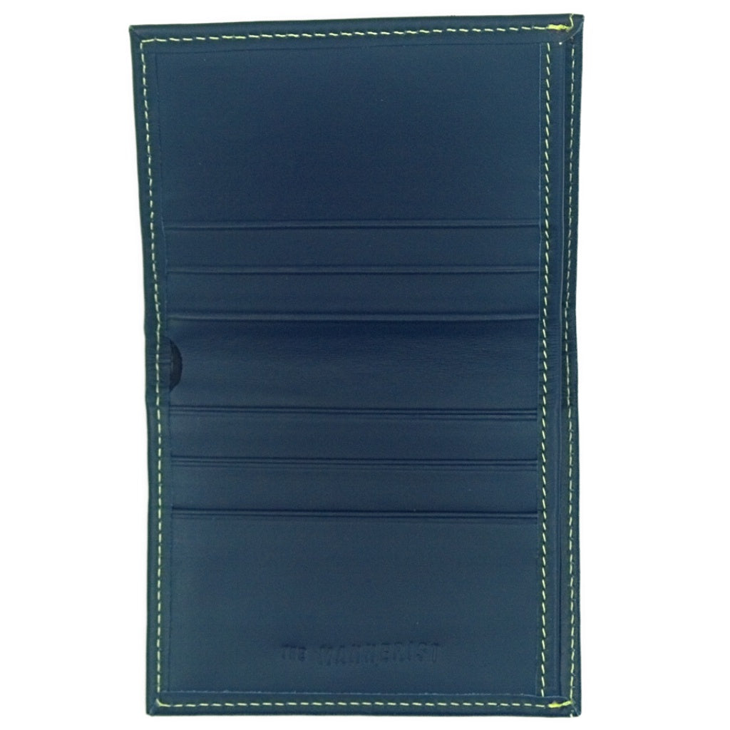 Blue Leather Wallet with Yellow Stitching and six card slots plus compartment for bills