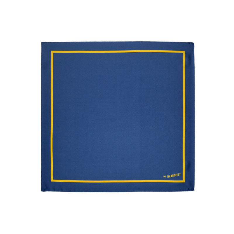 Navy Peony Blue with Yellow Border Print Silk Pocket Square