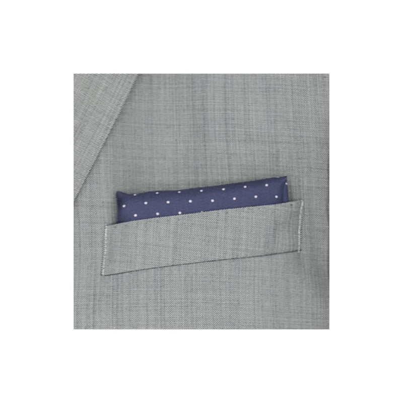 Designer Dark Blue Silk Pocket Square with Small White Polka Dots