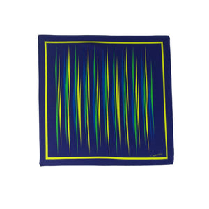 Blue silk pocket square with yellow, green and light blue flash patterns
