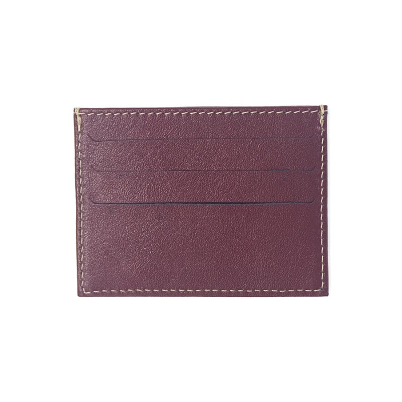 Burgundy Leather Card Holder with Beige Stitching and three card slots in each side